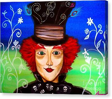 Canvas Print featuring the painting Madhatter by Pristine Cartera Turkus