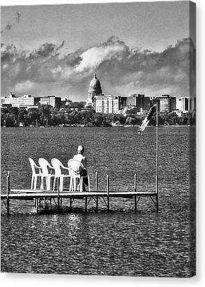 Canvas Print - Madison Capitol Across Lake Mendota - Black And White by Steven Ralser