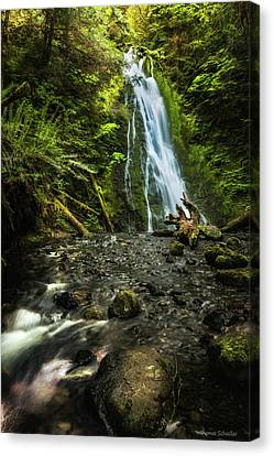 Log Cabin Art Canvas Print - Madison Falls - An Elwha Sanctuary by Expressive Landscapes Fine Art Photography by Thom