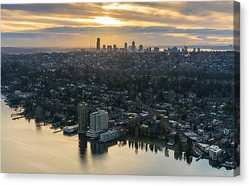 Madison Park And The Seattle Skyline Canvas Print by Mike Reid
