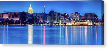 Hdr Canvas Print - Madison Skyline Reflection by Sebastian Musial