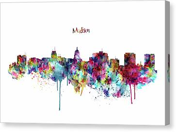 Canvas Print featuring the mixed media Madison Skyline Silhouette by Marian Voicu