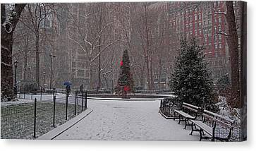 Madison Square Park In The Snow At Christmas Canvas Print by Chris Lord