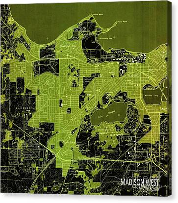 Madison West Green Old Map, Year 1959 Canvas Print by Pablo Franchi