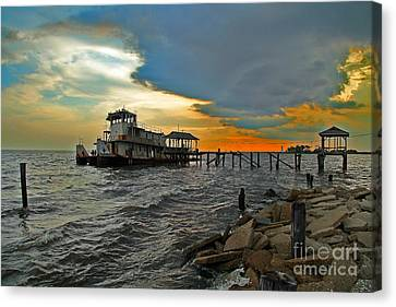 Canvas Print featuring the photograph Madisonville Katrina Ghost Boat  by Luana K Perez