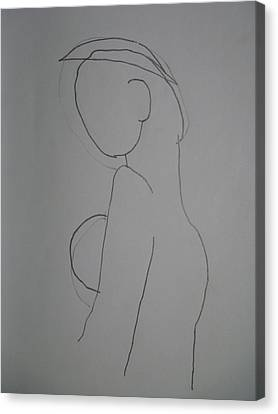 Canvas Print featuring the drawing Madona by Beto Machado