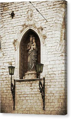 Madonna And Child Alcove Statue In  Belgium Canvas Print by Carol Groenen