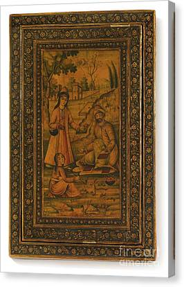 Madonna And Child And A Scene In A Garden Canvas Print by Celestial Images