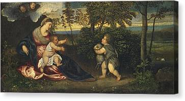 Madonna And Child And The Infant Saint John In A Landscape Canvas Print by Polidoro Lanzani