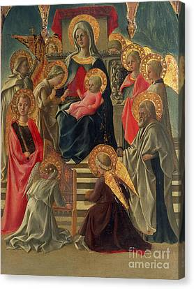 Madonna And Child Canvas Print - Madonna And Child Enthroned With Angels And Saints by Fra Filippo Lippi