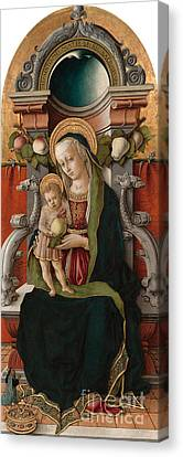 Madonna And Child Enthroned With Donor, 1470 Canvas Print by Carlo Crivelli