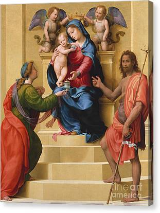 St Mary Magdalene Canvas Print - Madonna And Child Enthroned With Saints Mary Magdalene And John The Baptist by Giuliano Bugiardini