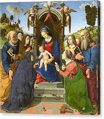 Madonna And Child Enthroned With Saints Canvas Print by Piero di Cosimo