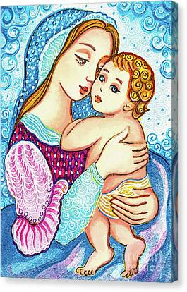 Canvas Print featuring the painting Madonna And Child In Blue by Eva Campbell