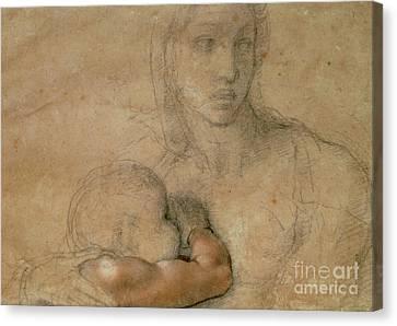Child Jesus Canvas Print - Madonna And Child by Michelangelo