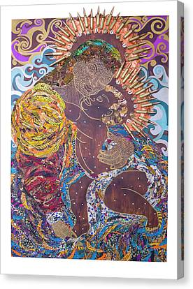 Canvas Print featuring the tapestry - textile Madonna And Child The Sacred And Profane by Apanaki Temitayo M