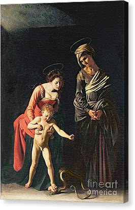 Madonna And Child With A Serpent Canvas Print by Michelangelo Merisi da Caravaggio