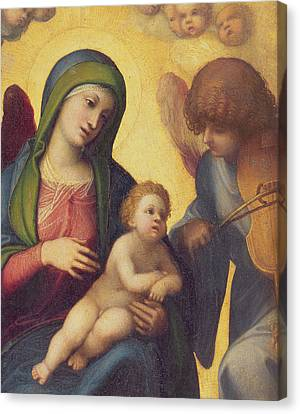 Madonna And Child With Angels Canvas Print by Correggio