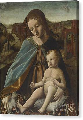 Child Jesus Canvas Print - Madonna And Child With Cat by Master of the Pala Sforzesca