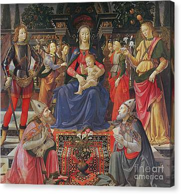 Madonna And Child With Ss Justus, Zenobius And The Archangels Michael And Raphael Canvas Print