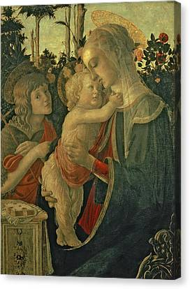 Madonna And Child Canvas Print - Madonna And Child With St. John The Baptist by Sandro Botticelli