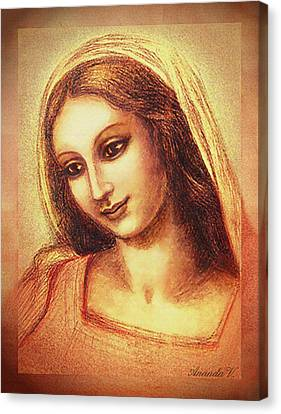 Madonna Drawing Canvas Print by Ananda Vdovic