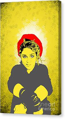 Canvas Print featuring the drawing Madonna On Yellow by Jason Tricktop Matthews