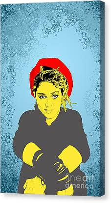 Canvas Print featuring the drawing Madonna On Blue by Jason Tricktop Matthews