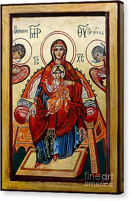 Madonna With Child And Angels Canvas Print by Ryszard Sleczka