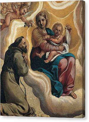 Madonna With The Child And Saint Francis Canvas Print