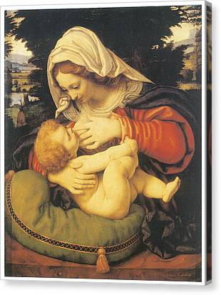 Madonna With The Green Cushion Canvas Print by Andrea Solari