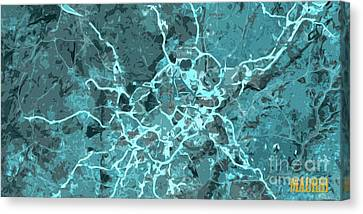 Madrid Abstract Map, Blue Traffic Map, Europe Canvas Print by Pablo Franchi