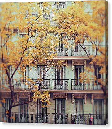 Madrid Facade In Late Autumn Canvas Print