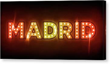 Madrid In Lights Canvas Print by Michael Tompsett
