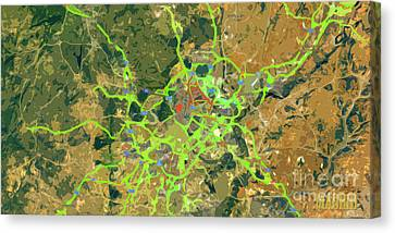 Madrid Spain, Abstract Green Map Canvas Print by Pablo Franchi