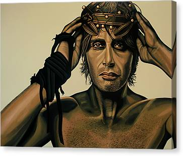 Mads Mikkelsen Painting Canvas Print by Paul Meijering