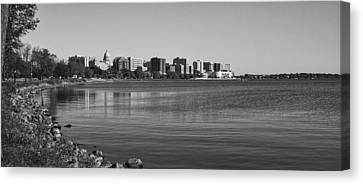 Madsion Skyline From John Nolan Drive - Black And White Canvas Print by Steven Ralser