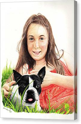 Canvas Print featuring the drawing Madyson And Cooper by Mike Ivey