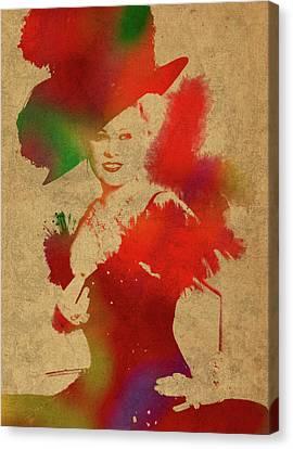 Mae West Watercolor Portrait Canvas Print by Design Turnpike
