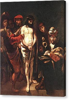 Maes Nicolaes Christ Before Pilate Canvas Print by Nicolaes Maes