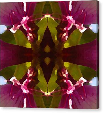 Magent Crystal Flower Canvas Print by Amy Vangsgard