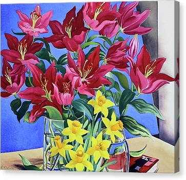Magenta Lilies And Daffodils Canvas Print