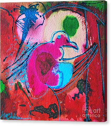 Magenta Marching Bird Canvas Print by Ana Maria Edulescu