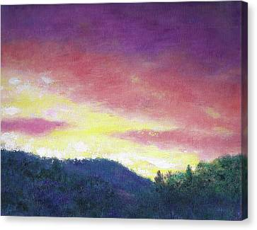 Canvas Print featuring the painting Magenta Sunset Oil Landscape by Judith Cheng