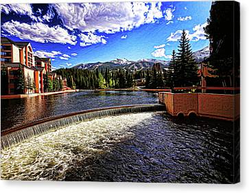 Maggie Pond In Breckenridge Painted Canvas Print by Judy Vincent