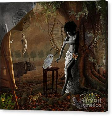 Canvas Print featuring the digital art Maggie's World by Nola Lee Kelsey