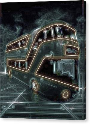 Tron Canvas Print - Magic Bus On The Grid by Mario Carini