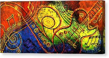 Magic Guitar Canvas Print by Leon Zernitsky
