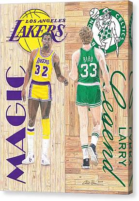 Larry Bird Canvas Print - Magic Johnson And Larry Bird by Chris Brown