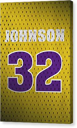 Magic Johnson Canvas Print - Magic Johnson Los Angeles Lakers Number 32 Retro Vintage Jersey Closeup Graphic Design by Design Turnpike